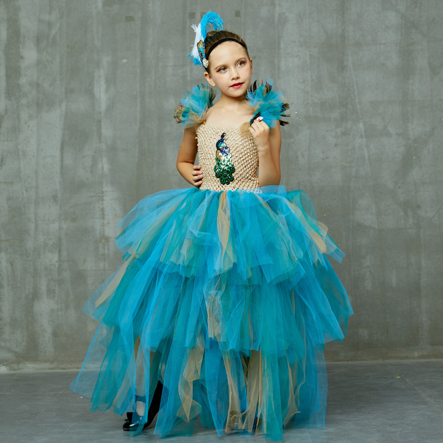 LIMITED EDITION Luxury Girls Peacock Tutu Dress with Matching Headband Multi-layer Kids Pageant Tulle Ball Gowns Peacock Costume (17)
