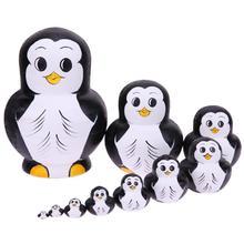 Nesting Holz Puppe Spielzeug Pinguin Muster Russische Matryoshka Puppen DIY Embryonen Russian Nesting Spielzeug Kinder Lernen Malerei Spielzeug