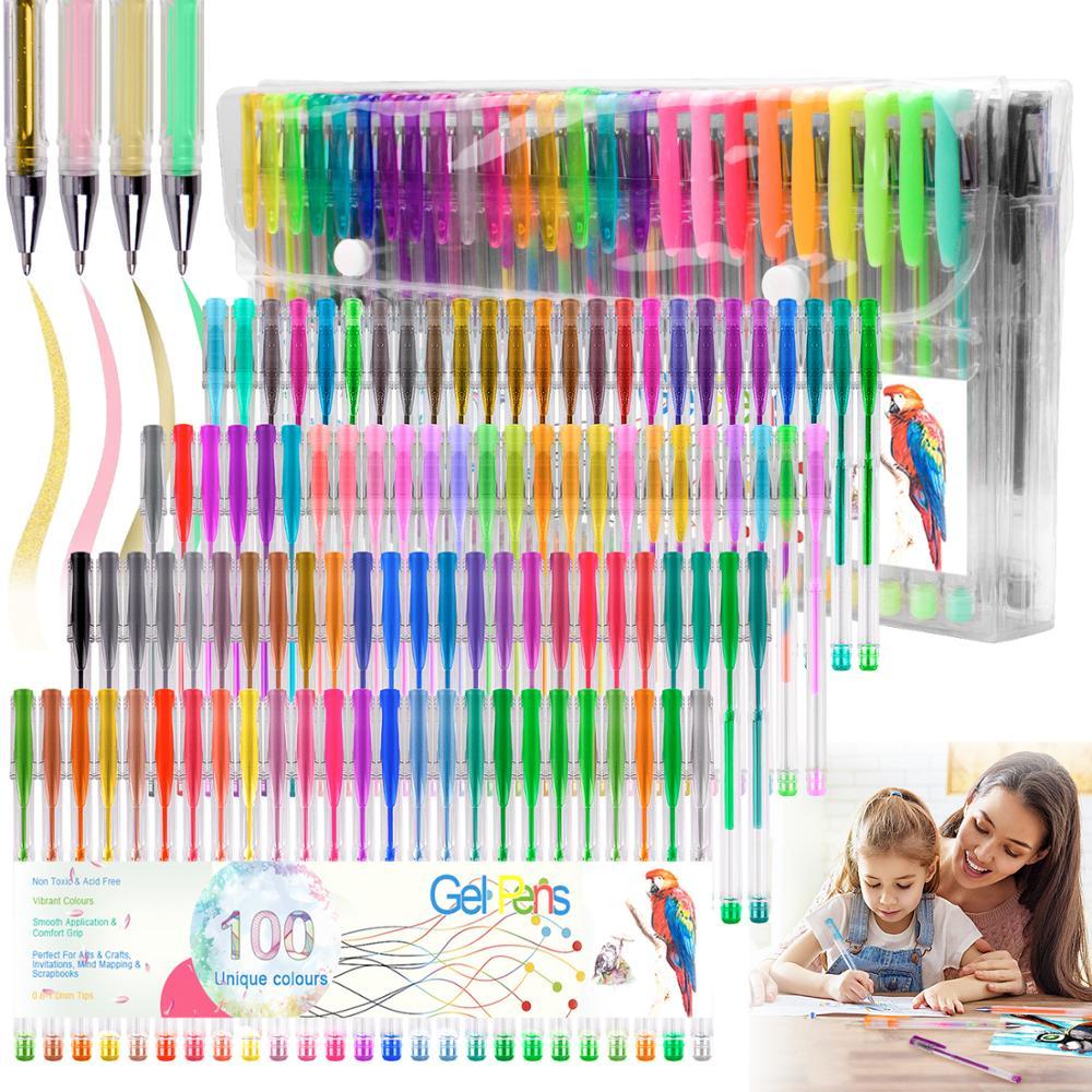100 Colors Pen Gel Pen Back To School 0.5mm Glitter Pen For Writing Highlighters Kawaii School Supplies Set