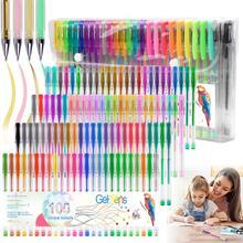 100 renk kalem jel kalem okula dönüş 0.5mm Glitter kalem yazma fosforlu kalemler Kawaii okul malzemeleri seti