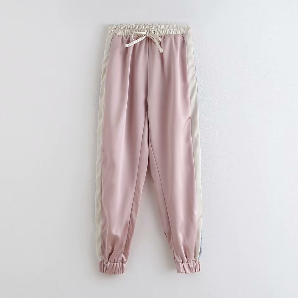 Women Color Matching Shinny Casual Straight Pants Autumn Ladies Side Striped Pocket Elastic Waist Chic Leisure Trousers P573