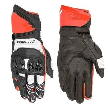 Hot Sales!Alpin GP Pro R3 Leather Motorcycle Motorbike Gloves Black White Bright Red