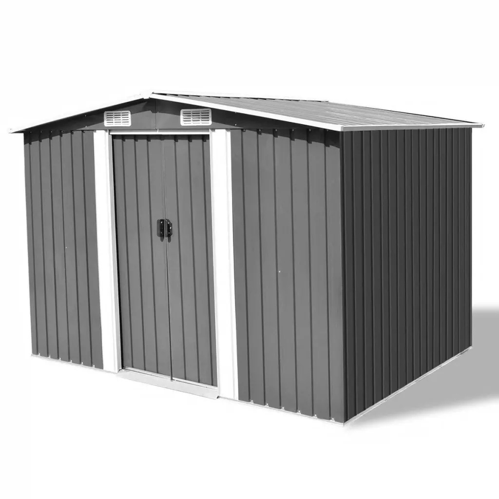 VidaXL Garden Storage Shed Grey Metal 257x205x178 Cm 4 Vents Eperfect For Storing A Wide Variety Of Tools Equipment.