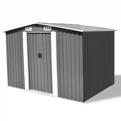 VidaXL Garden Storage Shed Grey Metal 257x205x178 Cm 4 Vents Eperfect For Storing A Wide Variety Of Tools Equipment V3