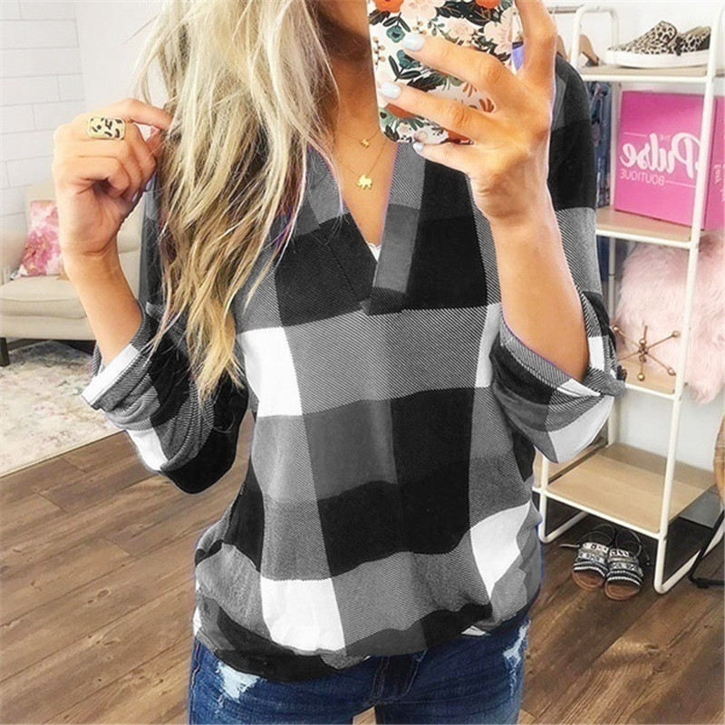 2020 Spring Autumn Women Blouses Vintage Sexy Hollow Out V Neck Plaid Casual Befree Long Sleeve 5XL Big Large Plus Sizes Shirts