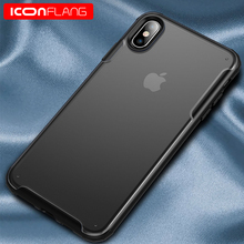 купить for iPhone Xs MAX XR Case,ICONFLANG Shockproof Ultra Thin Slim Transparent Crystal Clear PC Back Cover with Rubber TPU Bumper дешево
