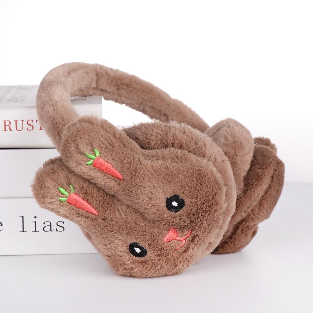 1Pcs New Hot Women Winter Warm Earmuffs Cute Cartoon Rabbit Carrot Embroidered Ear Muffs Boys Girls Thicken Plush Ear Protection