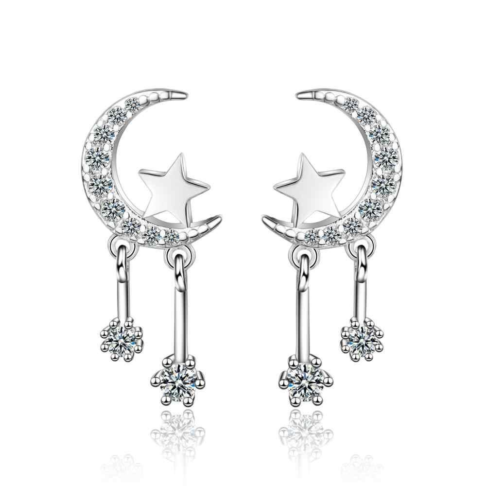 100% 925 argent Sterling mode lune étoile Shine CZ Zircon dame boucles d'oreilles Promotion bijoux femmes cadeau d'anniversaire pas cher filles