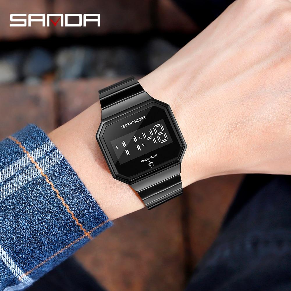 Купить новые модные спортивные часы мужские led сенсорный экран электронные