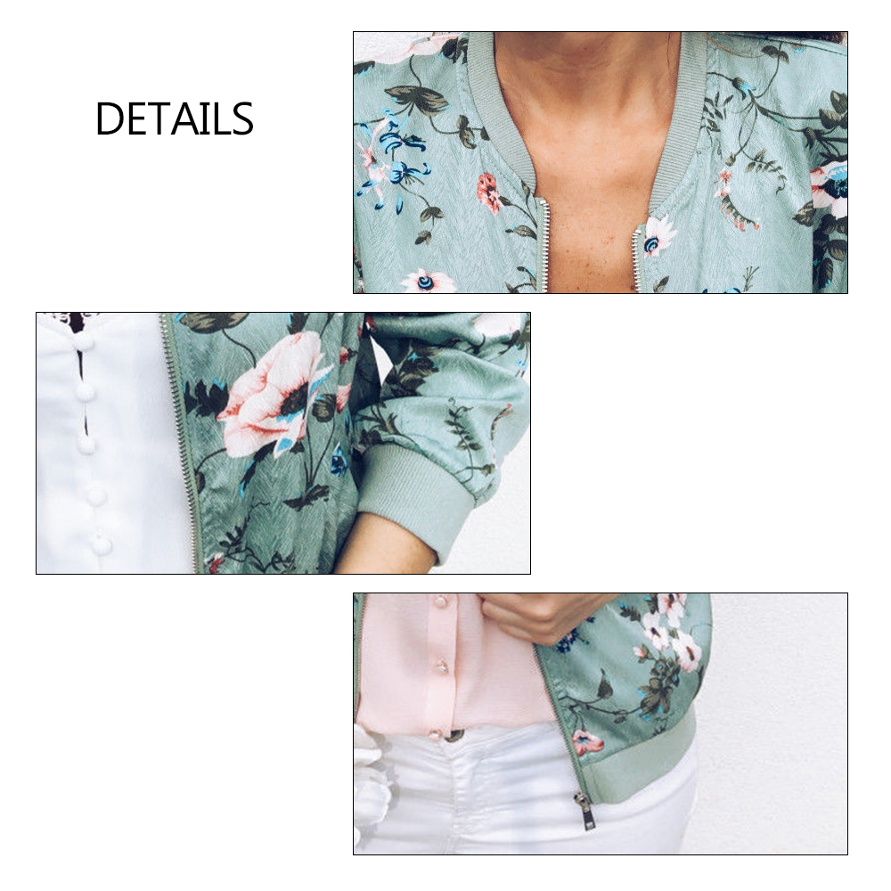 Women's Jacket Floral Printed Long Sleeve O Neck Tops Sweatshirt Spring Slim Womens Coats and Jackets Outwear Zipper Plus Size 6