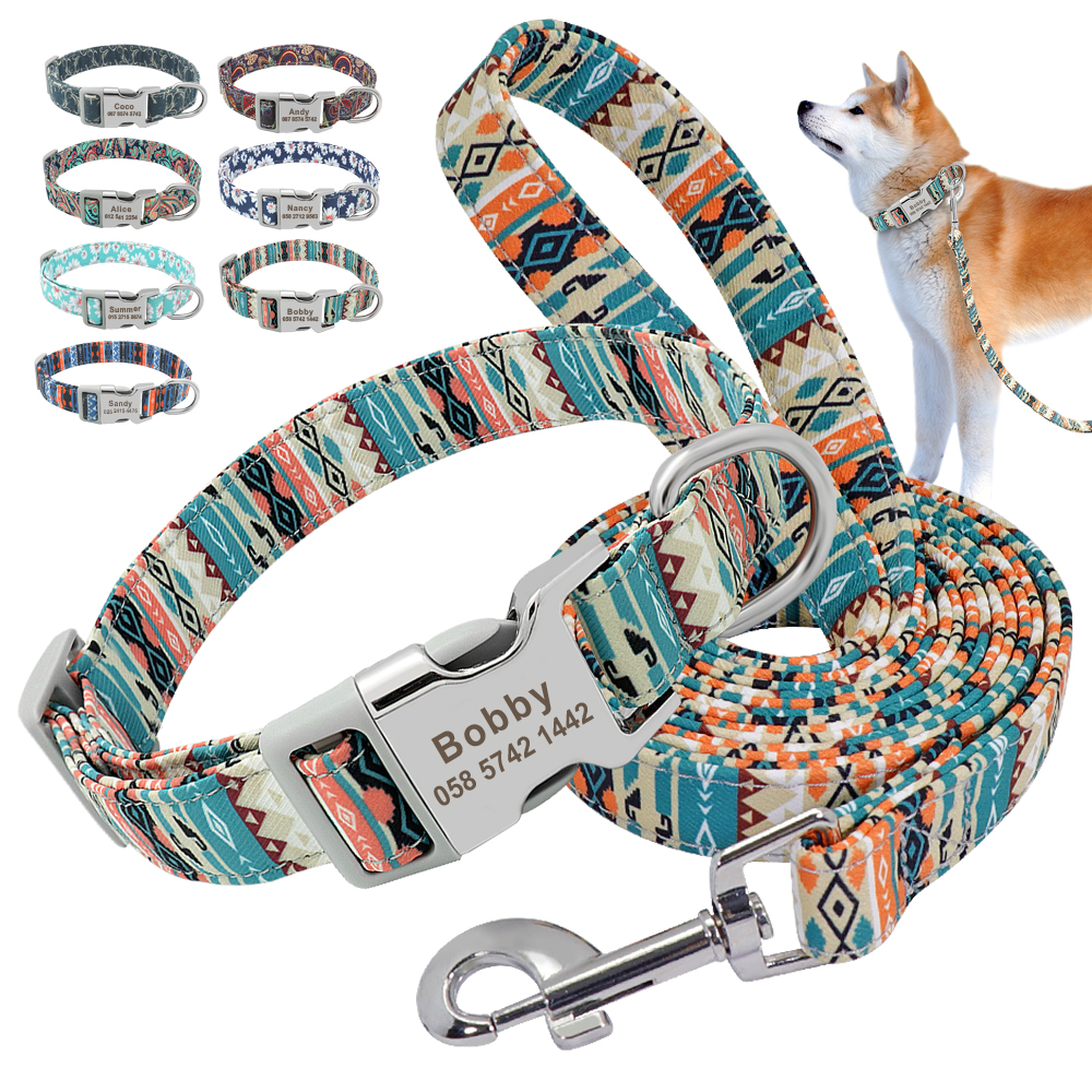 Customized Pet Collar Nylon Personalized  Dog Puppy Collar and Leash Pet  ID Tag Nameplate Collar for Small Medium Large Dogs
