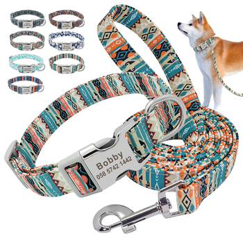 Customized Pet Collar Nylon Personalized  Dog Puppy Collar and Leash Pet  ID Tag Nameplate Collar for Small Medium Large Dogs custom dog collar personalzied nylon pet dog id tag collars engraved printed puppy collar leash for small medium large dogs