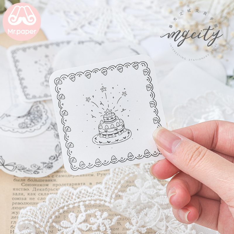 Mr Paper 16pcs/lot Lovely Afternoon Tea Cake Memo Pads Transparent Sulfate Butter Paper Bullet Journal Self-Adhesive Memo Pads