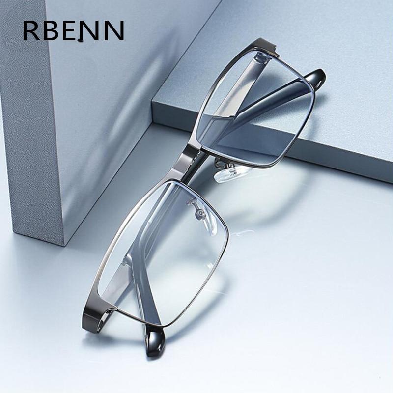 Rbenn aço inoxidável men business óculos de leitura para leitor presbiopia dos homens óculos ópticos + 1.0 1.5 2.0 2.5 3.0 3.5 4.0
