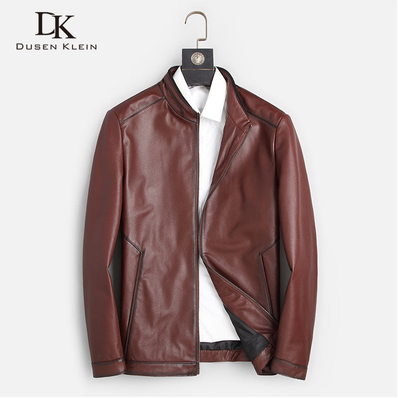 Men Genuine Leather Jacket Real Cow Leather Jackets Casual Short Black Pockets 2020 Autumn New Jacket For Man 1903
