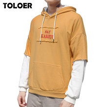 2020 New Men Hoodies Sweatshirts Loose Large Size Men's Hooded Shirt Mens Fashion Brand Cuff Stitching Men Hoodies Letter Print(China)