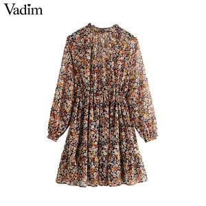 Image 2 - Vadim women retro chiffon floral pattern mini dress V neck bow tie sashes transparent long sleeve female casual dresses QD155