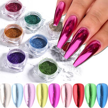 Ensemble de 23 paillettes pigmentées pour ongles, effet métallique chromé, poudre colorée pour Nail Art, décoration