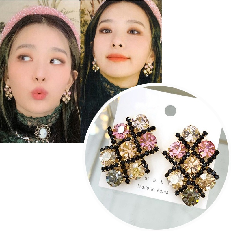 MENGJIQIAO Korean TV Star Exaggerated Luxury Colorful Crystal Stud Earrings For Women Elegant Boucle D'oreille Party Jewelry
