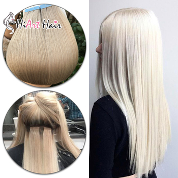 HiArt Tape In Human Hair Extensions 2.5g/pc Salon Skin Weft Hair Extension Adhesive Tape On Remy Hair Straight 182022 isheeny remy human hair tape extensions straight 12 22 skin weft seamless hair extension samples for salon hair testing