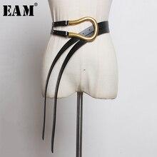 [EAM] بولي Leather جلد أسود متعدد الألوان طويلة واسعة الساق حزام شخصية المرأة موضة جديدة المد كل مباراة ربيع الخريف 2020 1K755