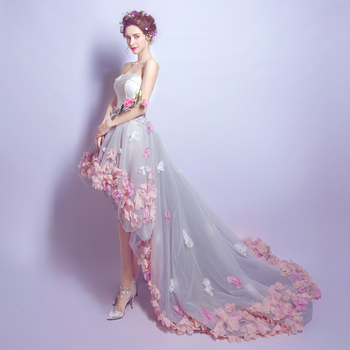 2019 High Low  Prom Dresses 3D Flowers Appliques Princess dress Backless Evening Gowns Short Front Long Back robe de soiree 2