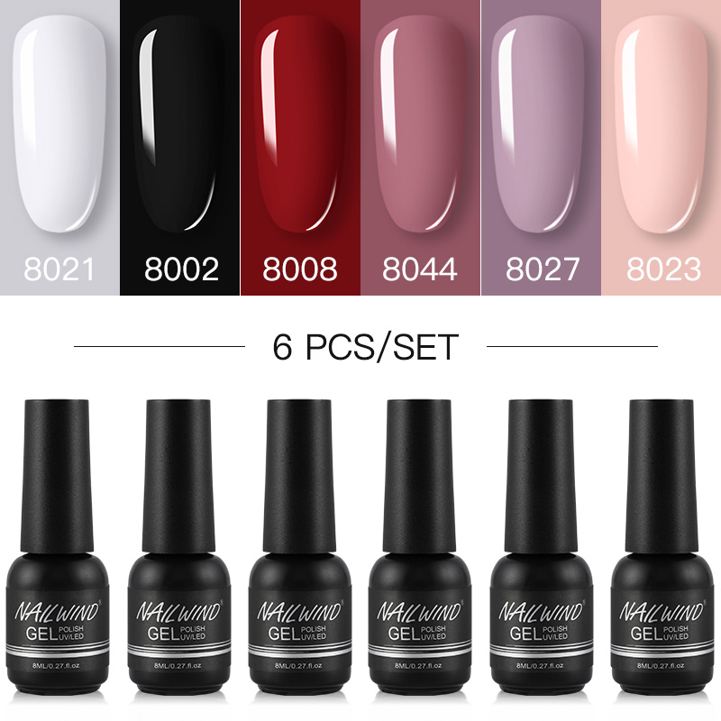NAILWIND Gel Nail Polish 6PCS/Set Hybrid Varnishes Semi Permanent UV LED Base Top Coat For Nais Art Manicure Kit Gel Polish Set