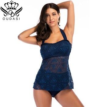 2020 Newest Tankini Set Network Swimwear Women Backless Fat Plus size Bathing suit Women Tie Navy Blue Vintage 2XL plus size backless tiered tankini set