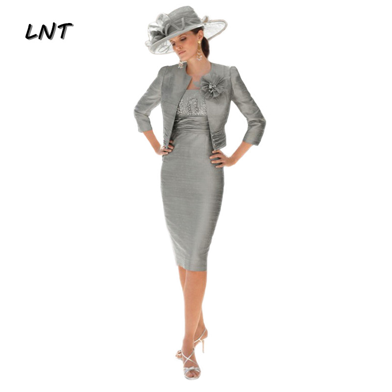 Gray Mother Of The Bride Dresses With Wedding Bolero Jacket Wedding Guest Party Dress