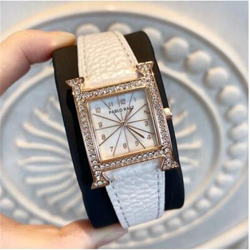 Hot Selling H Dial Fashion Women's Watch Digital Scale Two Needle design Luxury Rhinestone shell lychee Belt Gifts For Women