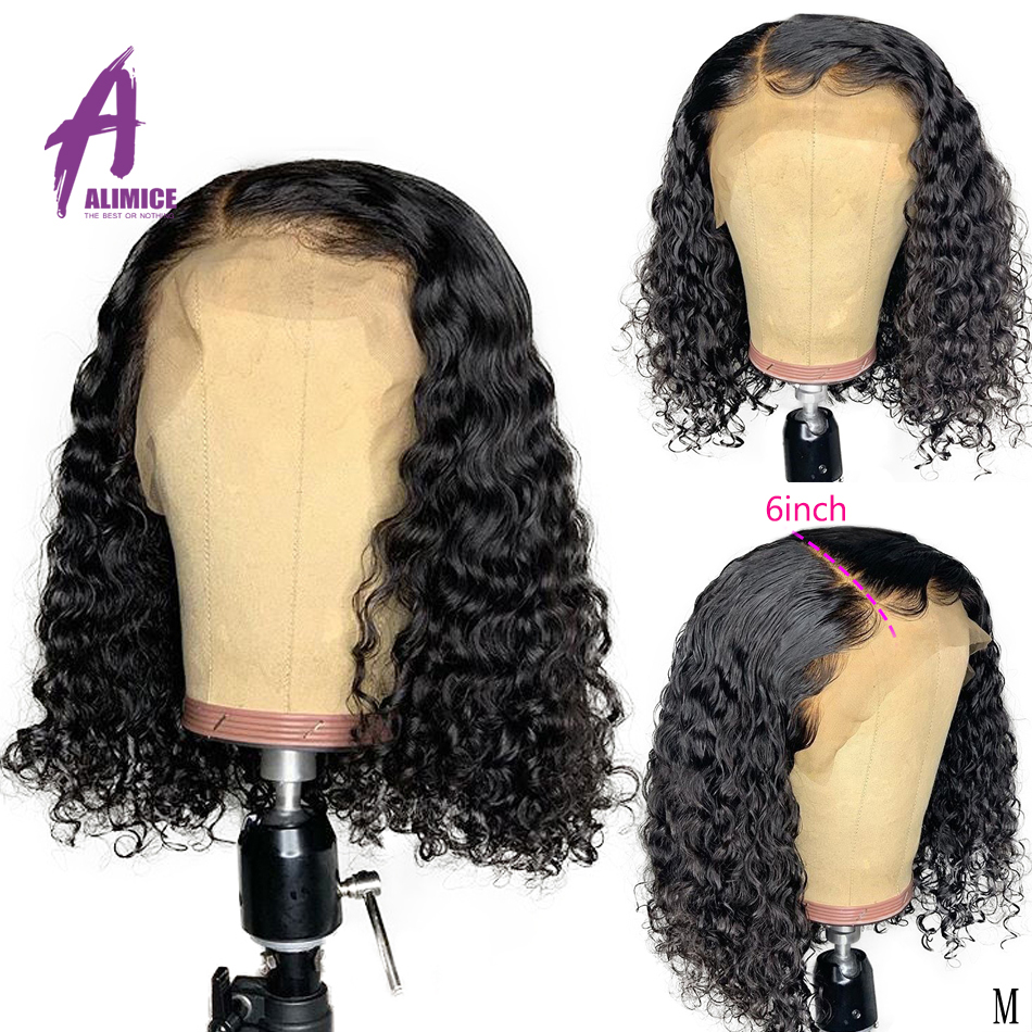 13x6 Deep Part Lace Front Human Hair Wigs Brazilian Curly Human Hair Wigs Alimice 150% 180% Density Lace Wig Preplucked Hairline