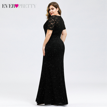 Sparkle Mermaid Prom Dresses Plus Size Ever Pretty O-Neck Short Sleeve Elegant Black Party Gowns For Women Vestidos De Gala 3