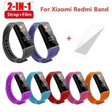 2 in1 pulseira de pulso com filme para xiaomi mi banda 4c silicone pulseira de substituição inteligente no redmi xiaomi banda 4c pulseira