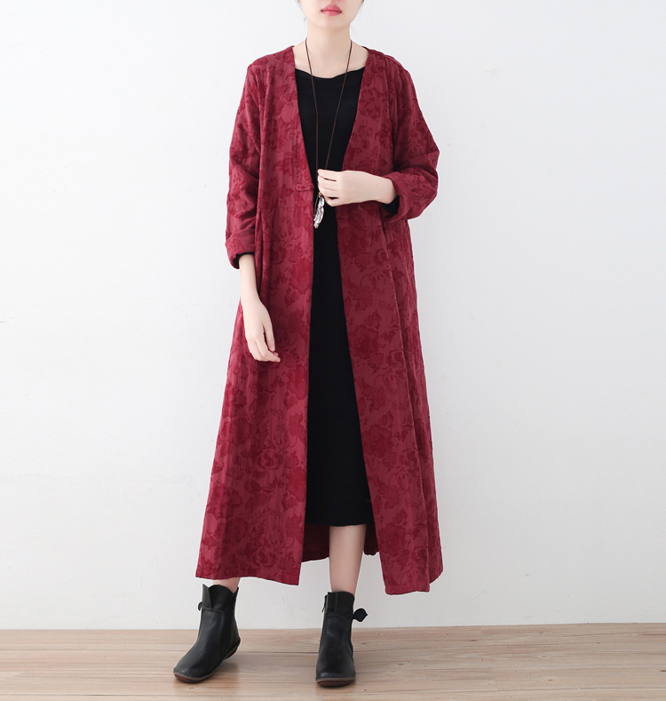 Autumn Ladies   Trench   Solid color Texture Linen Outwear High Quality Linen Cotton Women's   Trench   Plus Size Loose Outwear Design