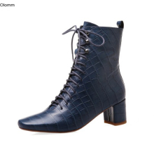 Party-Shoes Boots High-Heel Elegant Blue Black Olomm Ankle Square Us-Size 4-10 New-Arrival