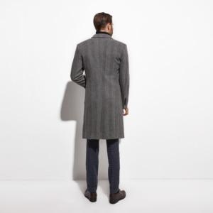 Image 2 - 2020 Tweed Topcoat Wide Grey Herringbone Long coat Custom Made Warm Winter Autumn Long Jacket, Manteau Homme Fasion Design