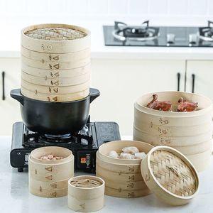 Vaporera de bambú de 2 niveles con tapa, vaporera asiática para Dumplings Dim Sum