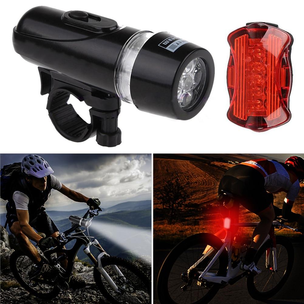 5 Led Bicycle Front Head Light With Tail Light Set Waterproof Road Mountain Bike Rear Light Cycling Lamp Flashlight Lantern