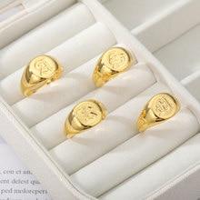 Gothic A-Z inicial signet anéis para mulheres homens jóias de casamento aço inoxidável anel de indicação melhor amigo presentes bague femme