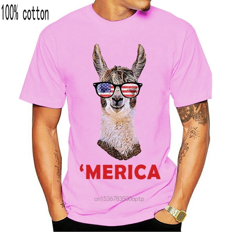 2020 New Men Fashion Summer Loose Clothes Merica Llama Patriotic Usa July 4 Sunglasses Funny Unisex Graphic Tees Shirt