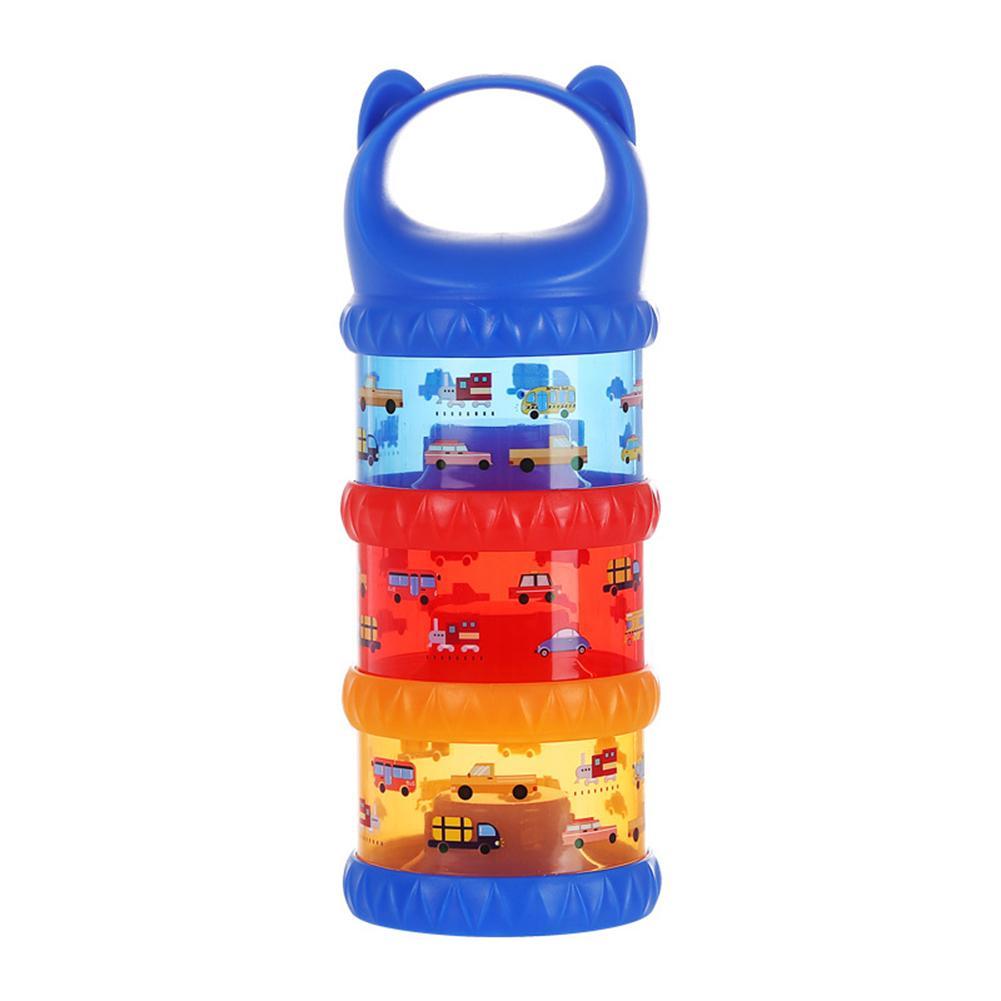 Car Print Travel 3 Layer Baby Milk Powder Dispenser Non-Spill Storage Container