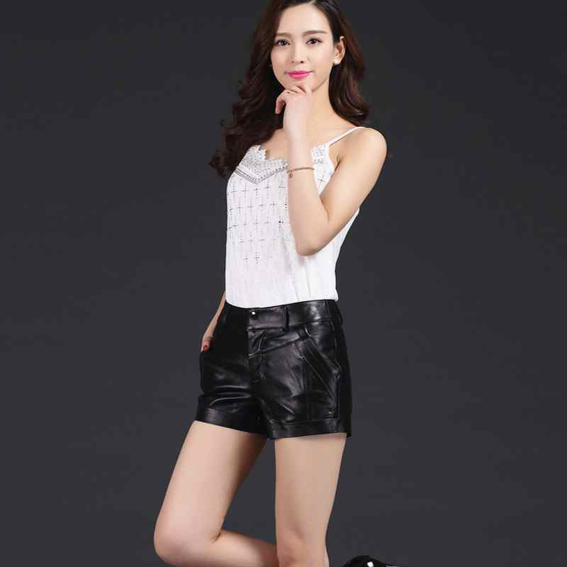 Korean Style 2020 New Fashion Womens Sheepskin Genuine Leather Shorts High Quality Brand Shorts Slim Female Lady Plus SizeM-3XL