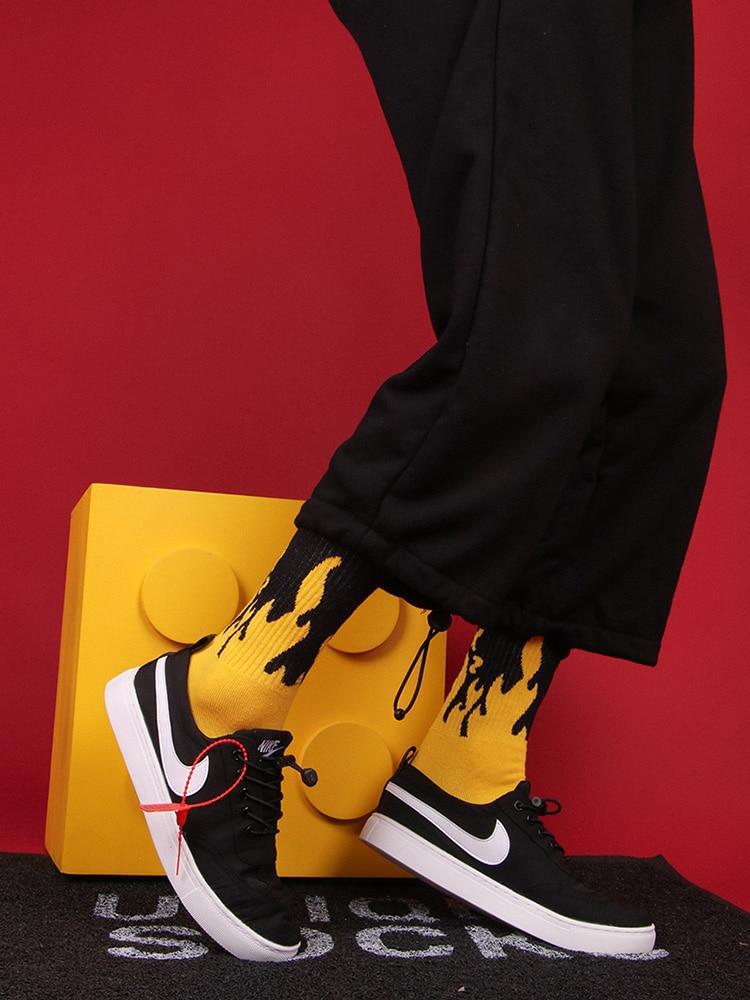 Imincn 1pair Hip Hop Crew Stripe Socks Funny Street Happy Burning Fire Cotton Socks Men Harajuku Skateboard Sock