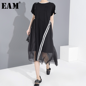 [EAM] Women Black Mesh Striped Split Big Size Dress New Round Neck Short Sleeve Loose Fit Fashion Spring Summer 2020 1T77601