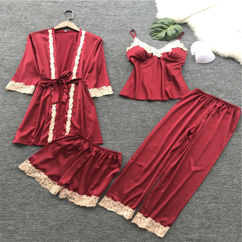 Women's sleepwear sexy Pajamas set four-piece халат silk sling pajama women's home service with chest pad nightgown thin section