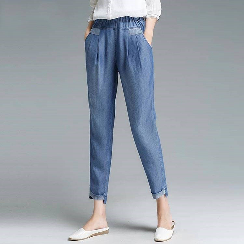 Women Ankle Jeans Plus Size Casual High Waist Harem Pants Cropped Pants Pockets Simple Vintage Summer Style New Fashion