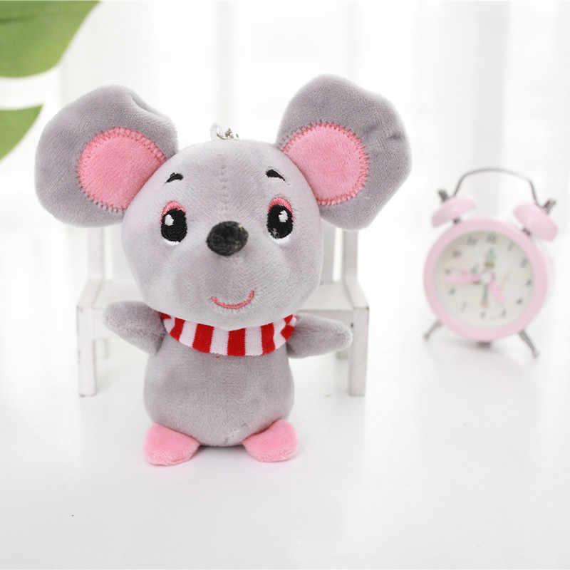 12cm dla dzieci dzieci Kawaii śliczny miękki zwierzak z kreskówki mała mysz brelok zabawka wisiorek w kształcie lalki wypchana zabawka