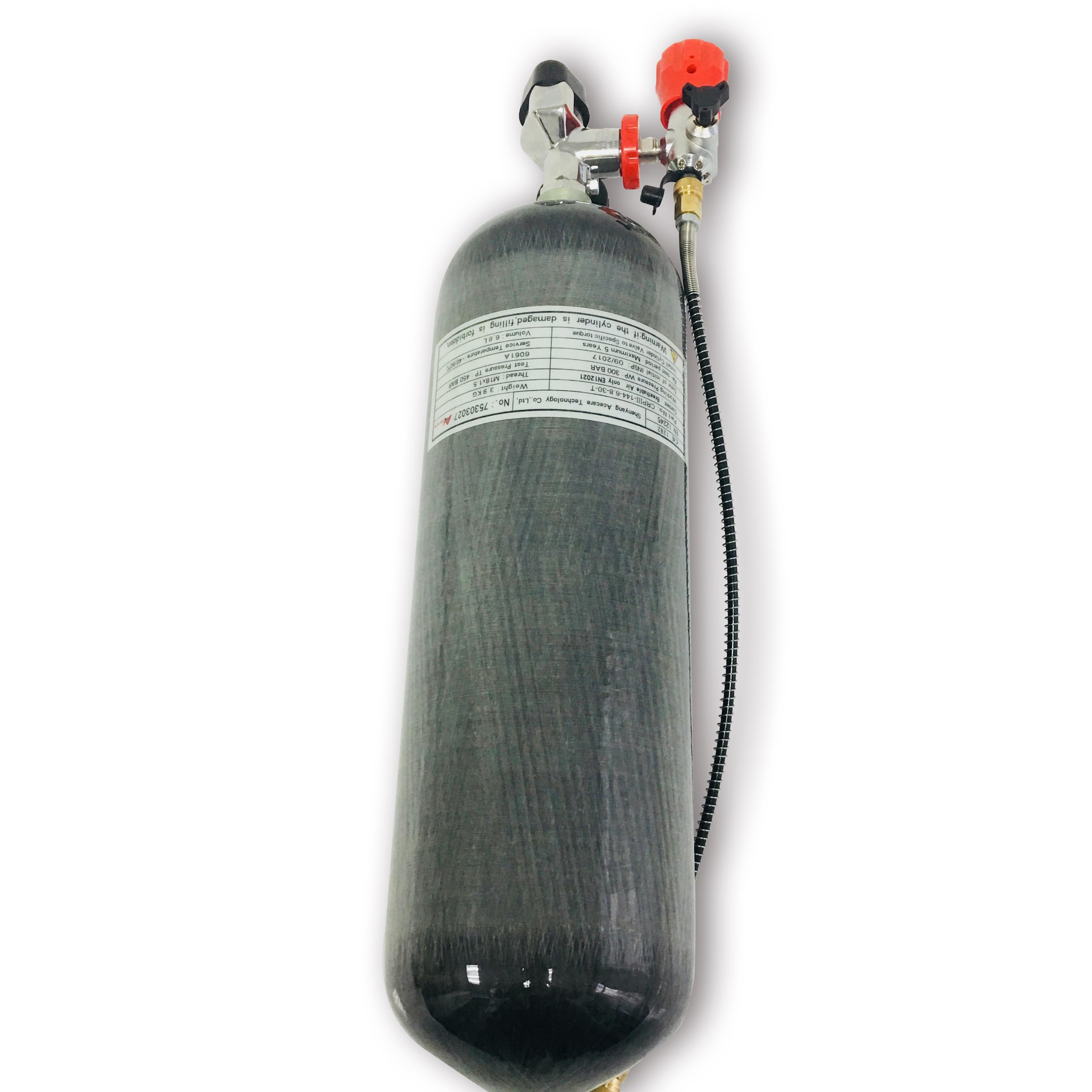 Ac268101 Carbon Fiber High Pressure Gas Cylinder 4500Psi /300Bar 6.8L Gun Air Tank Compressed Airforce Condor Scuba Pcp Acecare