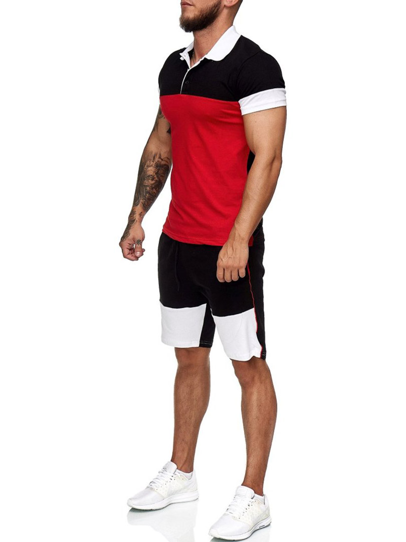 2020 Summer Men's Sets Mesh Breathable Fabric Mens 2 Piece Lapel Shirt + Shorts Outfit Sport Set Summer T-shirt + Short Pants