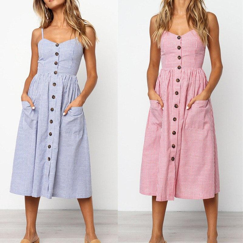 Women's Sexy Summer Midi Dresses Boho Backless Sleeveless Button Striped Dot Solid Midi Dress Slip Sundress With Pockets Robe 3